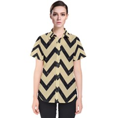 Chevron9 Black Marble & Light Sand (r) Women s Short Sleeve Shirt