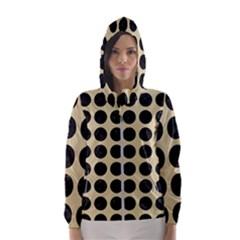 Circles1 Black Marble & Light Sand (r) Hooded Wind Breaker (women)