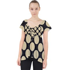 Circles2 Black Marble & Light Sand Lace Front Dolly Top