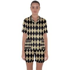Diamond1 Black Marble & Light Sand Satin Short Sleeve Pyjamas Set