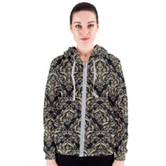 Damask1 Black Marble & Light Sand Women s Zipper Hoodie