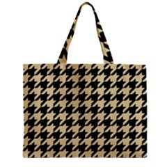 Houndstooth1 Black Marble & Light Sand Zipper Mini Tote Bag