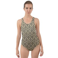 Hexagon1 Black Marble & Light Sand (r) Cut Out Back One Piece Swimsuit