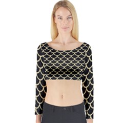 Scales1 Black Marble & Light Sand Long Sleeve Crop Top