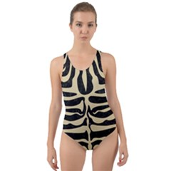 Skin2 Black Marble & Light Sand Cut Out Back One Piece Swimsuit