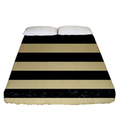 Stripes2 Black Marble & Light Sand Fitted Sheet (queen Size)
