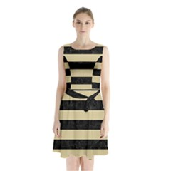 Stripes2 Black Marble & Light Sand Sleeveless Waist Tie Chiffon Dress