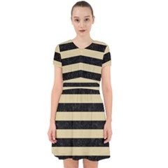 Stripes2 Black Marble & Light Sand Adorable In Chiffon Dress