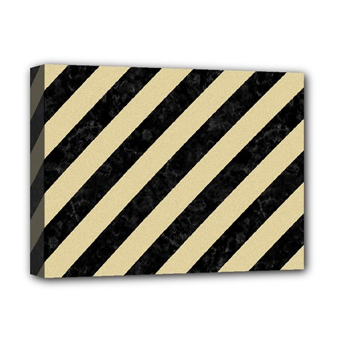 Stripes3 Black Marble & Light Sand Deluxe Canvas 16  X 12