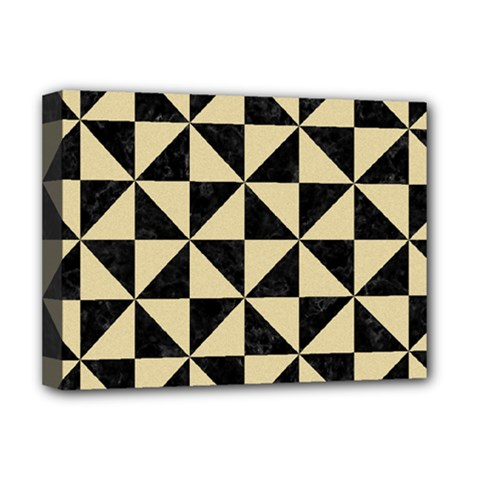 Triangle1 Black Marble & Light Sand Deluxe Canvas 16  X 12