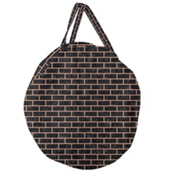 Brick1 Black Marble & Natural Red Birch Wood Giant Round Zipper Tote