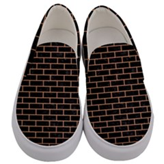 Brick1 Black Marble & Natural Red Birch Wood Men s Canvas Slip Ons