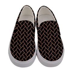 Brick2 Black Marble & Natural Red Birch Wood Women s Canvas Slip Ons