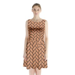 Brick2 Black Marble & Natural Red Birch Wood (r) Sleeveless Waist Tie Chiffon Dress