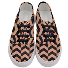 Chevron2 Black Marble & Natural Red Birch Wood Women s Classic Low Top Sneakers