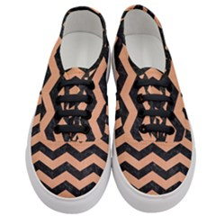 Chevron3 Black Marble & Natural Red Birch Wood Women s Classic Low Top Sneakers