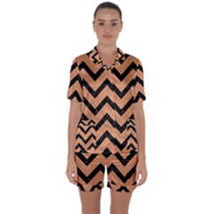Chevron9 Black Marble & Natural Red Birch Wood (r) Satin Short Sleeve Pyjamas Set