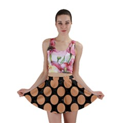 Circles2 Black Marble & Natural Red Birch Wood Mini Skirt