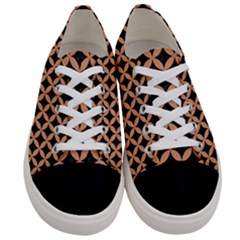 Circles3 Black Marble & Natural Red Birch Wood Women s Low Top Canvas Sneakers