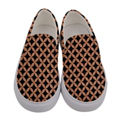 Circles3 Black Marble & Natural Red Birch Wood Women s Canvas Slip Ons
