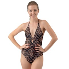 Damask1 Black Marble & Natural Red Birch Wood Halter Cut Out One Piece Swimsuit