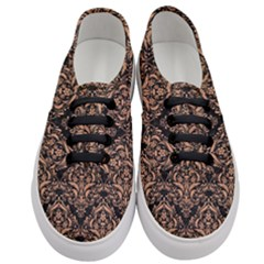 Damask1 Black Marble & Natural Red Birch Wood Women s Classic Low Top Sneakers