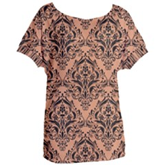 Damask1 Black Marble & Natural Red Birch Wood (r) Women s Oversized Tee
