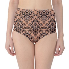 Damask1 Black Marble & Natural Red Birch Wood (r) High Waist Bikini Bottoms