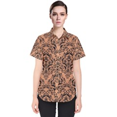 Damask1 Black Marble & Natural Red Birch Wood (r) Women s Short Sleeve Shirt