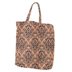 Damask1 Black Marble & Natural Red Birch Wood (r) Giant Grocery Zipper Tote