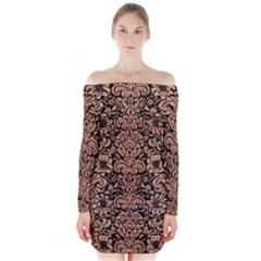 Damask2 Black Marble & Natural Red Birch Wood Long Sleeve Off Shoulder Dress