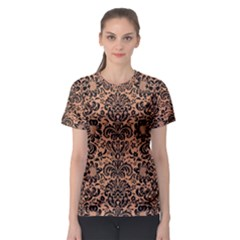 Damask2 Black Marble & Natural Red Birch Wood (r) Women s Sport Mesh Tee