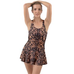 Damask2 Black Marble & Natural Red Birch Wood (r) Swimsuit