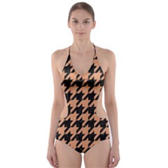 Houndstooth1 Black Marble & Natural Red Birch Wood Cut Out One Piece Swimsuit