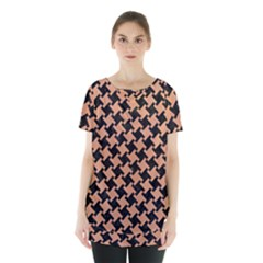 Houndstooth2 Black Marble & Natural Red Birch Wood Skirt Hem Sports Top