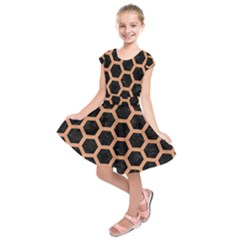 Hexagon2 Black Marble & Natural Red Birch Wood Kids  Short Sleeve Dress