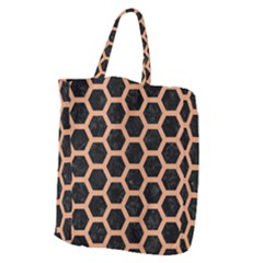 Hexagon2 Black Marble & Natural Red Birch Wood Giant Grocery Zipper Tote
