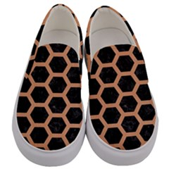 Hexagon2 Black Marble & Natural Red Birch Wood Men s Canvas Slip Ons