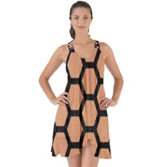 Hexagon2 Black Marble & Natural Red Birch Wood (r) Show Some Back Chiffon Dress