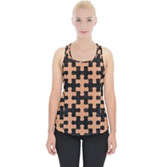 Puzzle1 Black Marble & Natural Red Birch Wood Piece Up Tank Top