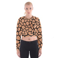 Skin1 Black Marble & Natural Red Birch Wood Cropped Sweatshirt