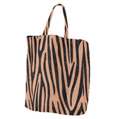 Skin4 Black Marble & Natural Red Birch Wood Giant Grocery Zipper Tote