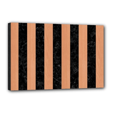 Stripes1 Black Marble & Natural Red Birch Wood Canvas 18  X 12