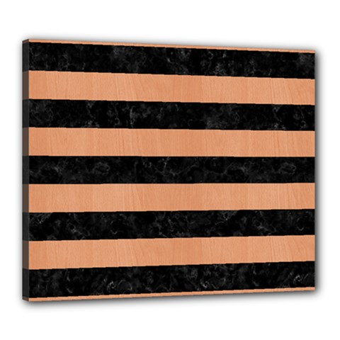 Stripes2 Black Marble & Natural Red Birch Wood Canvas 24  X 20