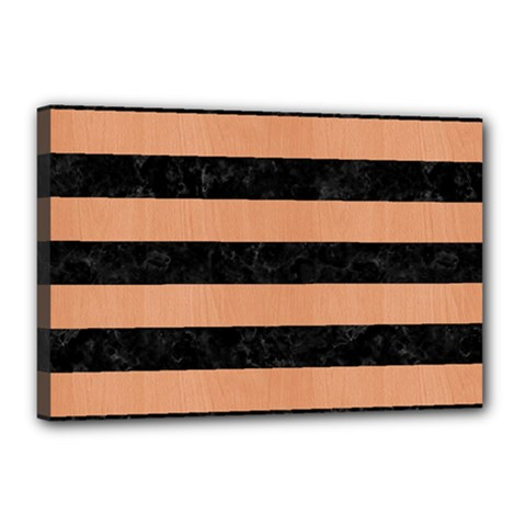 Stripes2 Black Marble & Natural Red Birch Wood Canvas 18  X 12