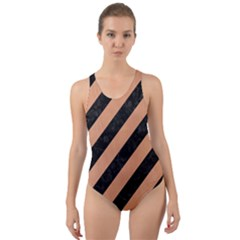 Stripes3 Black Marble & Natural Red Birch Wood Cut Out Back One Piece Swimsuit