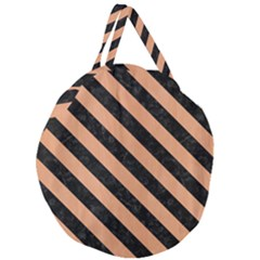 Stripes3 Black Marble & Natural Red Birch Wood (r) Giant Round Zipper Tote