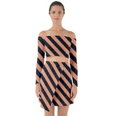 Stripes3 Black Marble & Natural Red Birch Wood (r) Off Shoulder Top With Skirt Set