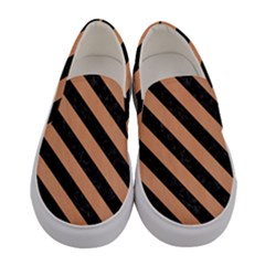Stripes3 Black Marble & Natural Red Birch Wood (r) Women s Canvas Slip Ons