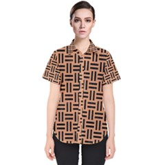 Woven1 Black Marble & Natural Red Birch Wood (r) Women s Short Sleeve Shirt